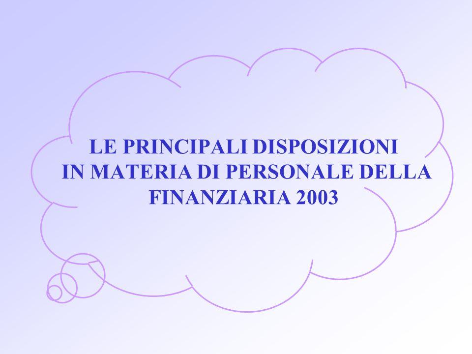 LE PRINCIPALI DISPOSIZIONI IN MATERIA DI PERSONALE DELLA FINANZIARIA 2003