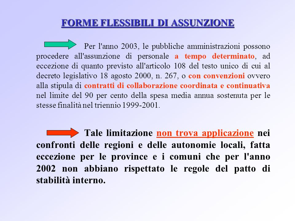 FORME FLESSIBILI DI ASSUNZIONE Per l anno 2003, le pubbliche amministrazioni possono procedere all assunzione di personale a tempo determinato, ad eccezione di quanto previsto all articolo 108 del testo unico di cui al decreto legislativo 18 agosto 2000, n.