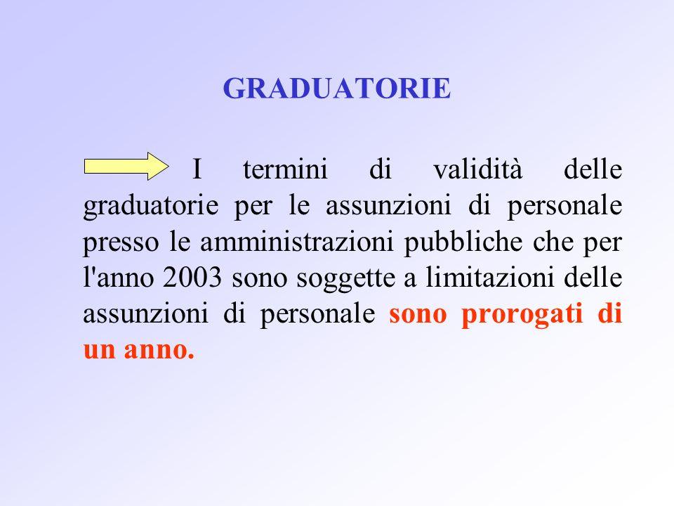 GRADUATORIE I termini di validità delle graduatorie per le assunzioni di personale presso le amministrazioni pubbliche che per l anno 2003 sono soggette a limitazioni delle assunzioni di personale sono prorogati di un anno.