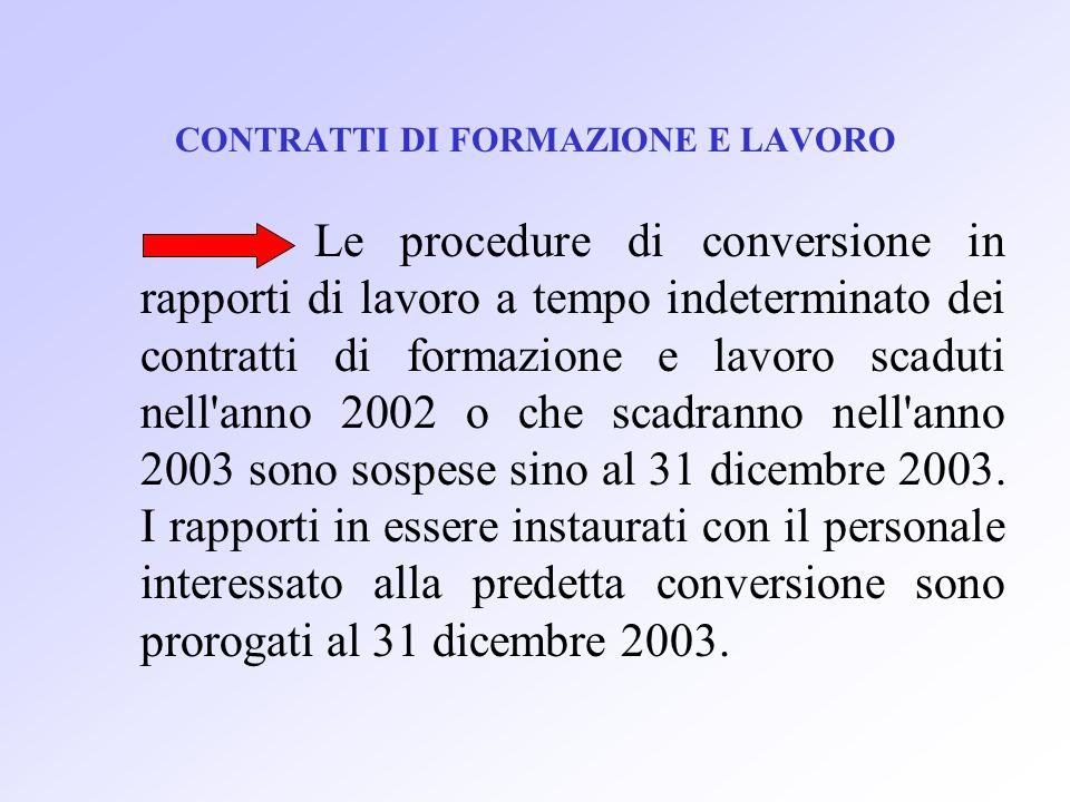 CONTRATTI DI FORMAZIONE E LAVORO Le procedure di conversione in rapporti di lavoro a tempo indeterminato dei contratti di formazione e lavoro scaduti nell anno 2002 o che scadranno nell anno 2003 sono sospese sino al 31 dicembre 2003.