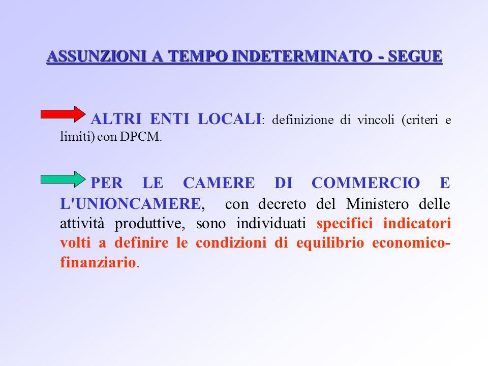 ASSUNZIONI A TEMPO INDETERMINATO - SEGUE ALTRI ENTI LOCALI : definizione di vincoli (criteri e limiti) con DPCM.