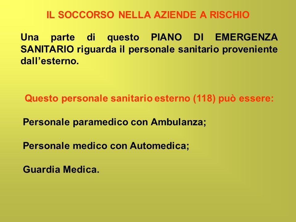 IL SOCCORSO NELLA AZIENDE A RISCHIO Questo personale sanitario esterno (118) può essere: Personale paramedico con Ambulanza; Personale medico con Auto