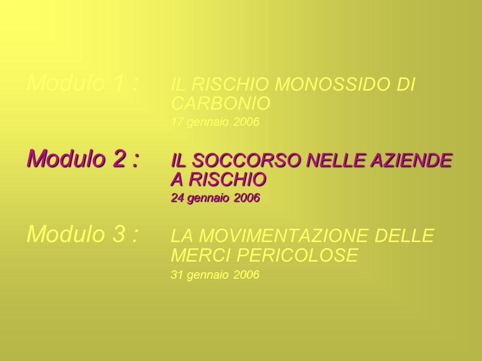 Modulo 1 : IL RISCHIO MONOSSIDO DI CARBONIO 17 gennaio 2006 Modulo 2 : IL SOCCORSO NELLE AZIENDE A RISCHIO 24 gennaio 2006 Modulo 3 : LA MOVIMENTAZION