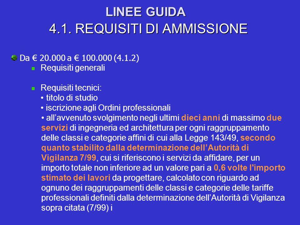 LINEE GUIDA 4.1. REQUISITI DI AMMISSIONE Da 20.000 a 100.000 (4.1.2) Requisiti generali Requisiti tecnici: titolo di studio iscrizione agli Ordini pro