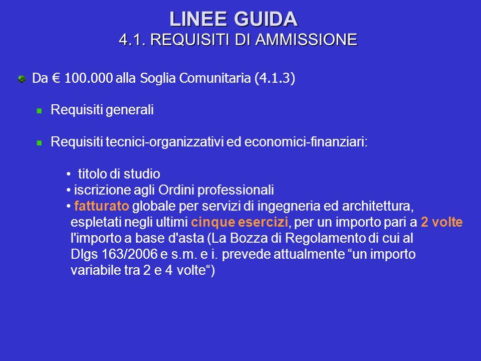 LINEE GUIDA 4.1. REQUISITI DI AMMISSIONE Da 100.000 alla Soglia Comunitaria (4.1.3) Requisiti generali Requisiti tecnici-organizzativi ed economici-fi