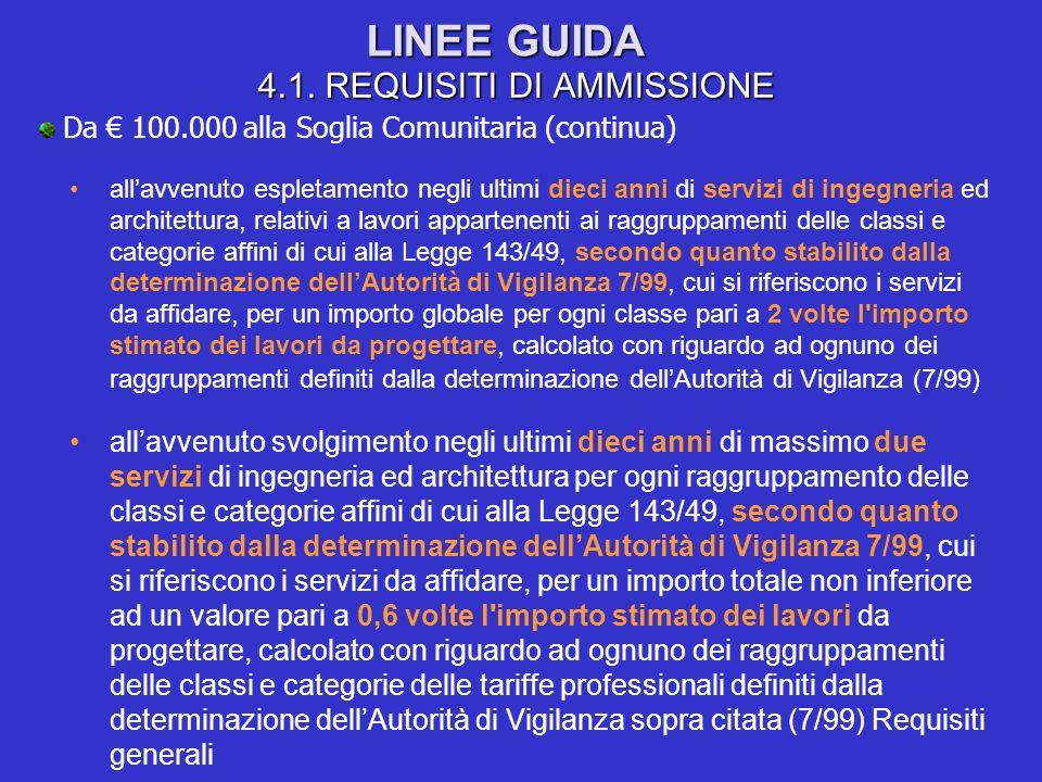 LINEE GUIDA 4.1. REQUISITI DI AMMISSIONE Da 100.000 alla Soglia Comunitaria (continua) allavvenuto espletamento negli ultimi dieci anni di servizi di