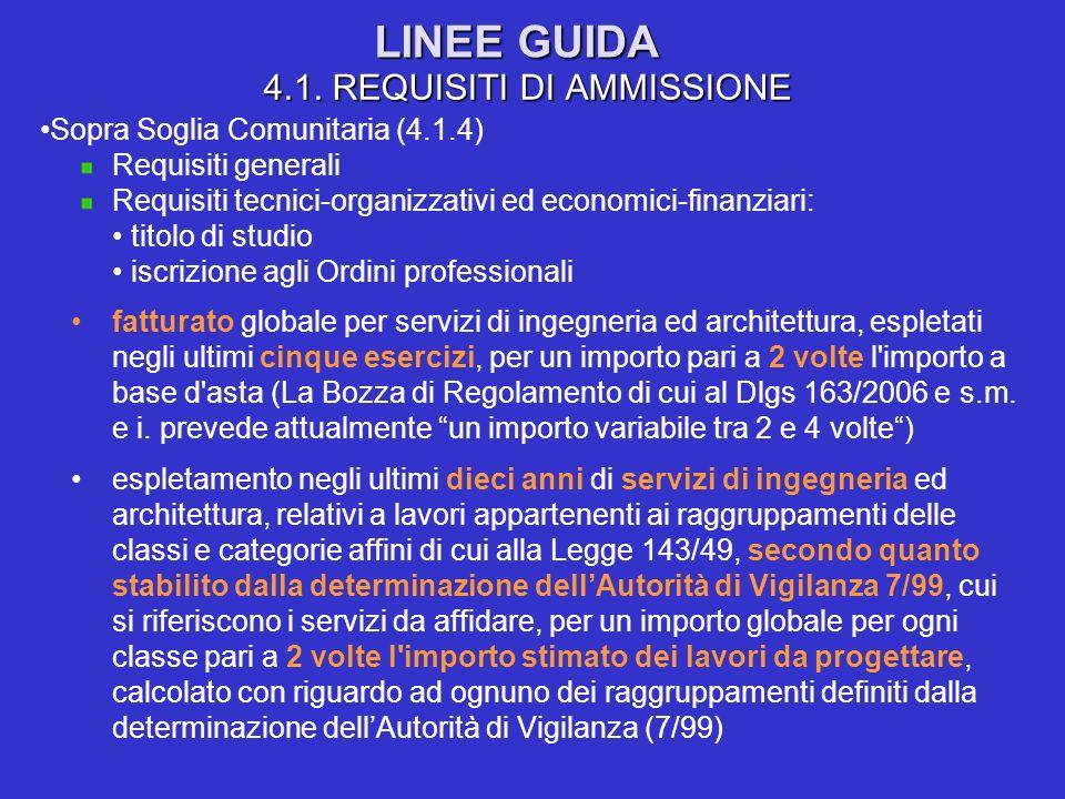 LINEE GUIDA 4.1. REQUISITI DI AMMISSIONE Sopra Soglia Comunitaria (4.1.4) Requisiti generali Requisiti tecnici-organizzativi ed economici-finanziari: