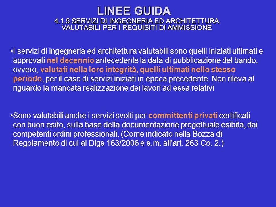 LINEE GUIDA 4.1.5 SERVIZI DI INGEGNERIA ED ARCHITETTURA VALUTABILI PER I REQUISITI DI AMMISSIONE I servizi di ingegneria ed architettura valutabili so