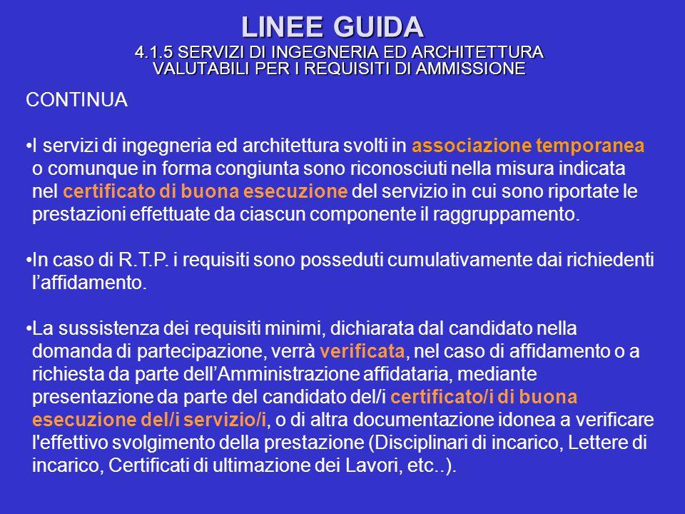 LINEE GUIDA 4.1.5 SERVIZI DI INGEGNERIA ED ARCHITETTURA VALUTABILI PER I REQUISITI DI AMMISSIONE CONTINUA I servizi di ingegneria ed architettura svol