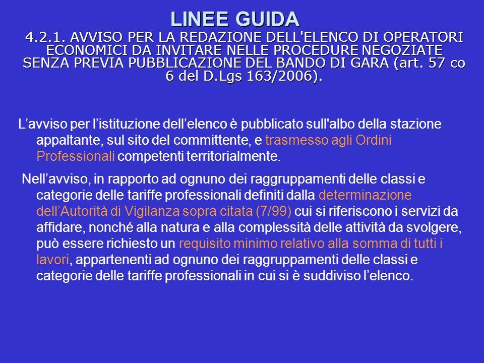 LINEE GUIDA 4.2.1. AVVISO PER LA REDAZIONE DELL'ELENCO DI OPERATORI ECONOMICI DA INVITARE NELLE PROCEDURE NEGOZIATE SENZA PREVIA PUBBLICAZIONE DEL BAN