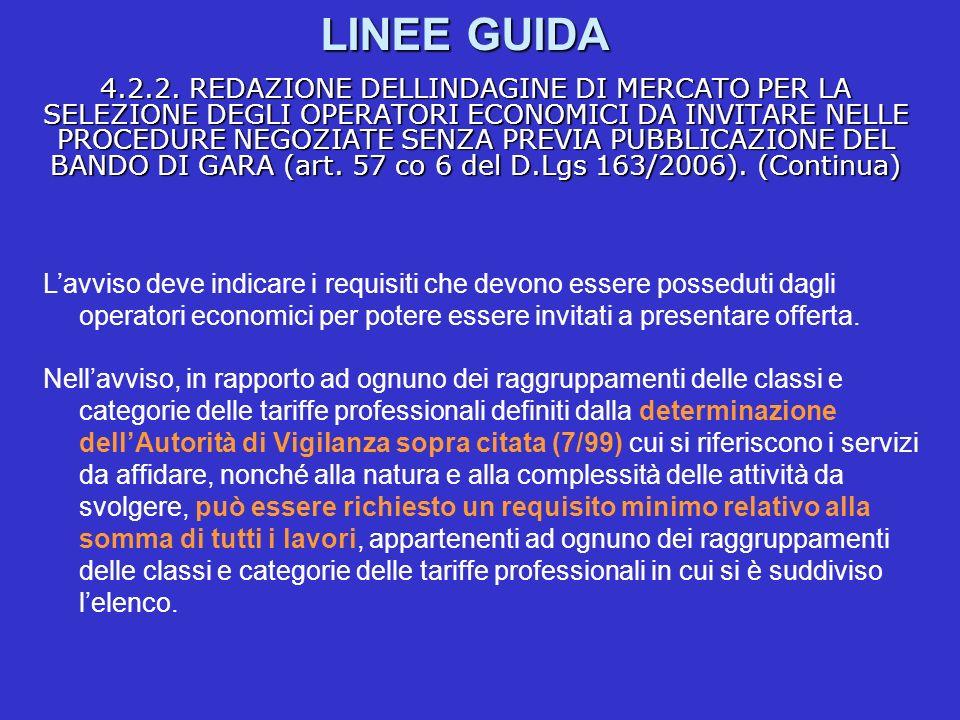 LINEE GUIDA 4.2.2. REDAZIONE DELLINDAGINE DI MERCATO PER LA SELEZIONE DEGLI OPERATORI ECONOMICI DA INVITARE NELLE PROCEDURE NEGOZIATE SENZA PREVIA PUB