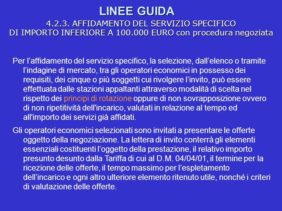 LINEE GUIDA 4.2.3. AFFIDAMENTO DEL SERVIZIO SPECIFICO DI IMPORTO INFERIORE A 100.000 EURO con procedura negoziata Per laffidamento del servizio specif