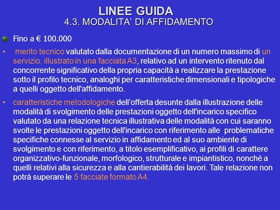 LINEE GUIDA 4.3. MODALITA DI AFFIDAMENTO Fino a 100.000 merito tecnico valutato dalla documentazione di un numero massimo di un servizio, illustrato i