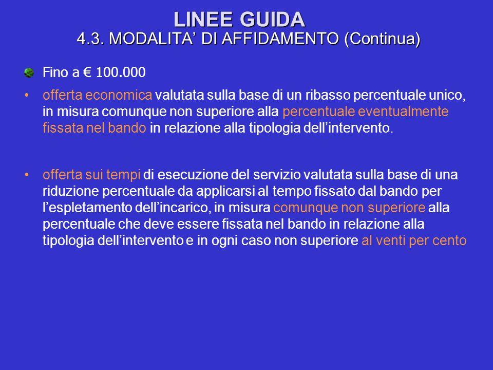 LINEE GUIDA 4.3. MODALITA DI AFFIDAMENTO (Continua) Fino a 100.000 offerta economica valutata sulla base di un ribasso percentuale unico, in misura co