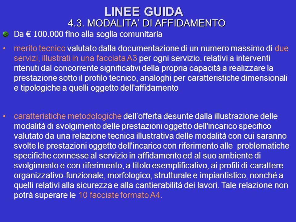 LINEE GUIDA 4.3. MODALITA DI AFFIDAMENTO Da 100.000 fino alla soglia comunitaria merito tecnico valutato dalla documentazione di un numero massimo di