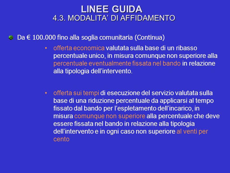 LINEE GUIDA 4.3. MODALITA DI AFFIDAMENTO Da 100.000 fino alla soglia comunitaria (Continua) offerta economica valutata sulla base di un ribasso percen