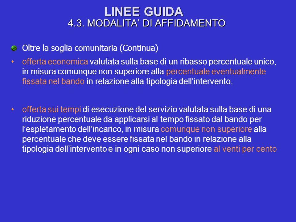 LINEE GUIDA 4.3. MODALITA DI AFFIDAMENTO Oltre la soglia comunitaria (Continua) offerta economica valutata sulla base di un ribasso percentuale unico,