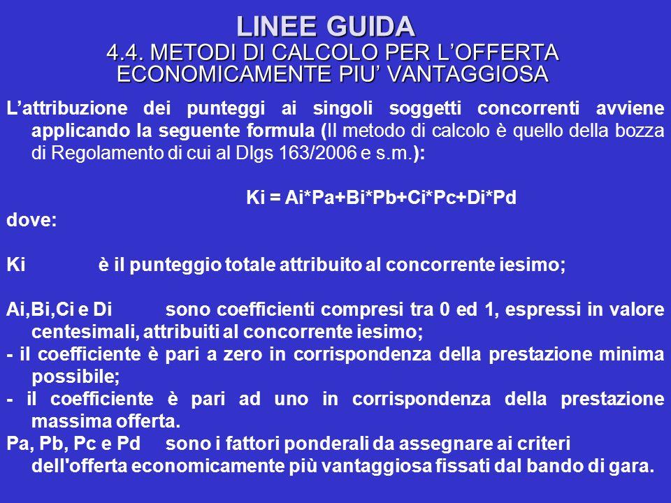 LINEE GUIDA 4.4. METODI DI CALCOLO PER LOFFERTA ECONOMICAMENTE PIU VANTAGGIOSA Lattribuzione dei punteggi ai singoli soggetti concorrenti avviene appl