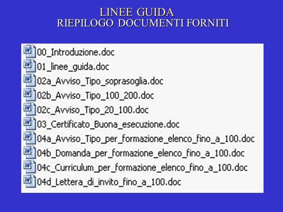 LINEE GUIDA RIEPILOGO DOCUMENTI FORNITI