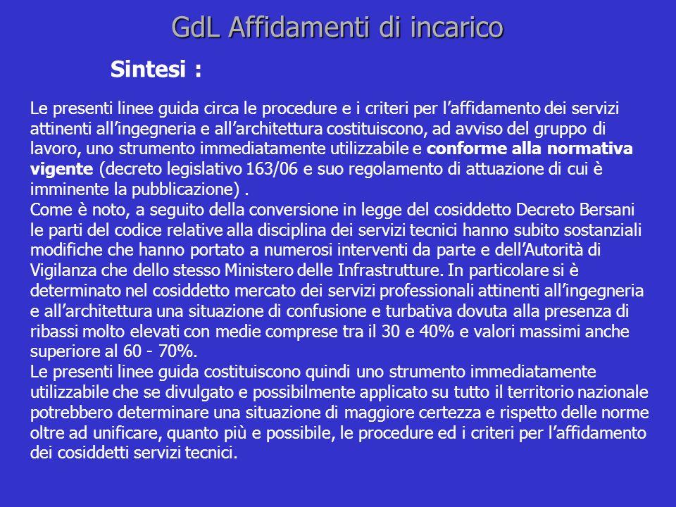 GdL Affidamenti di incarico Sintesi : Le presenti linee guida circa le procedure e i criteri per laffidamento dei servizi attinenti allingegneria e al