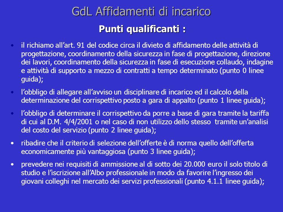 GdL Affidamenti di incarico Punti qualificanti : il richiamo allart. 91 del codice circa il divieto di affidamento delle attività di progettazione, co