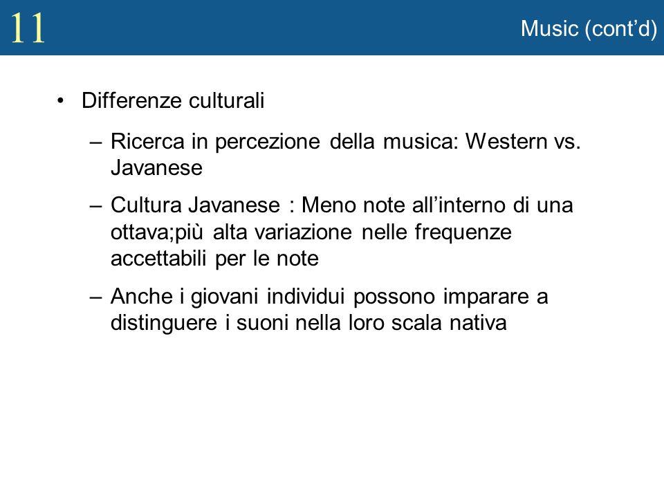 11 Music (contd) Differenze culturali –Ricerca in percezione della musica: Western vs. Javanese –Cultura Javanese : Meno note allinterno di una ottava