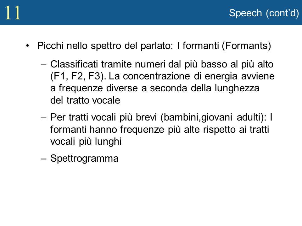 11 Speech (contd) Picchi nello spettro del parlato: I formanti (Formants) –Classificati tramite numeri dal più basso al più alto (F1, F2, F3). La conc
