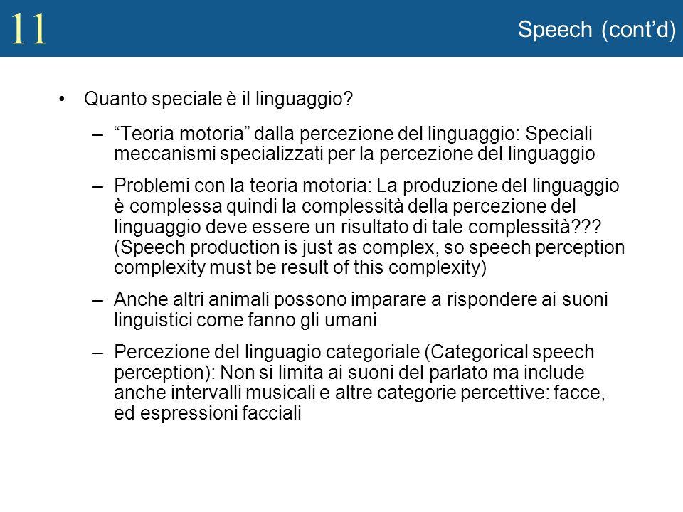 11 Speech (contd) Quanto speciale è il linguaggio? –Teoria motoria dalla percezione del linguaggio: Speciali meccanismi specializzati per la percezion
