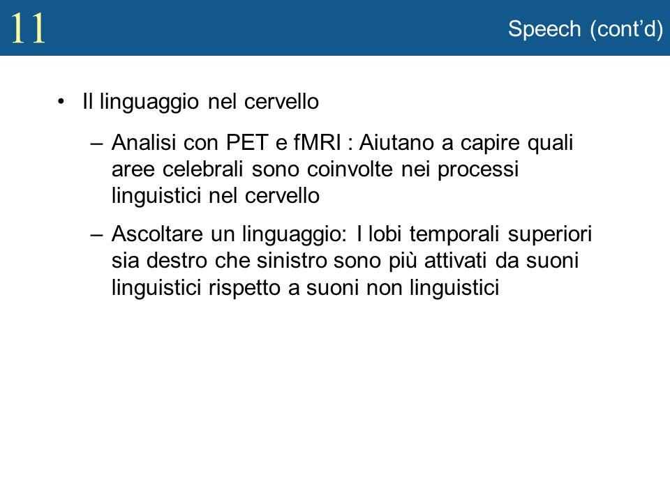 11 Speech (contd) Il linguaggio nel cervello –Analisi con PET e fMRI : Aiutano a capire quali aree celebrali sono coinvolte nei processi linguistici n