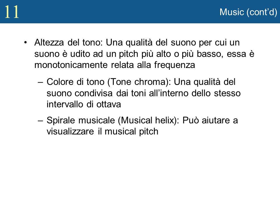 11 Music (contd) Altezza del tono: Una qualità del suono per cui un suono è udito ad un pitch più alto o più basso, essa è monotonicamente relata alla