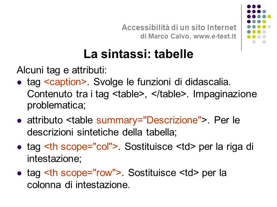 Alcuni tag e attributi: tag. Svolge le funzioni di didascalia.