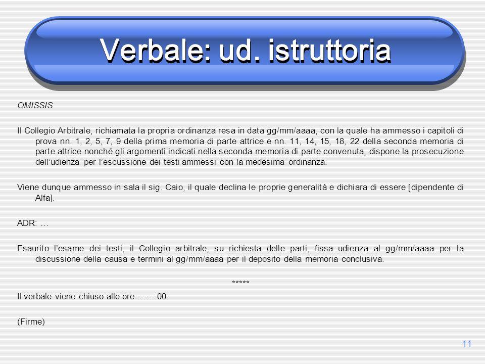 11 Verbale: ud. istruttoria OMISSIS Il Collegio Arbitrale, richiamata la propria ordinanza resa in data gg/mm/aaaa, con la quale ha ammesso i capitoli