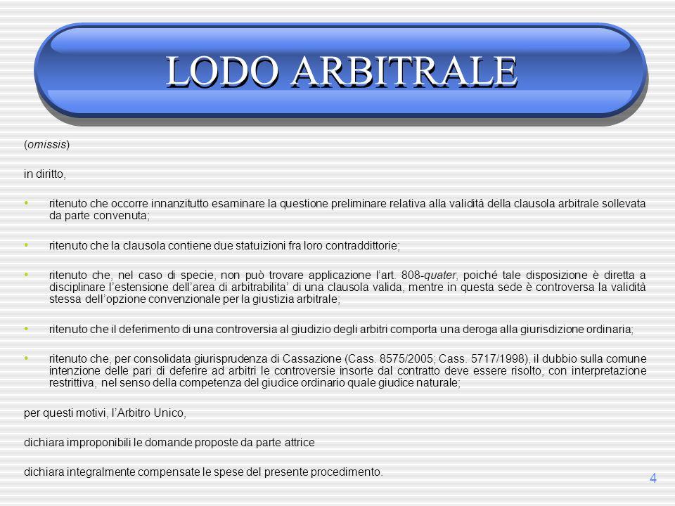 5 SECONDO CASO PRATICO COLLEGIO ARBITRALE Dott.ssa Patrizia Marchetti (Pres.