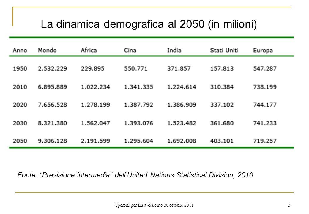 Caratteristiche del 6°censimento cinese (novembre 2010) Dieci milioni di enumerators 1.340 milioni di abitanti: solo 74 milioni di aumento in un decennio (+5,5%) Quattro quinti della crescita demografica nella macroregione della costa orientale: +12%, che sale a +40% a Pechino e Shangai Forte crescita delle città: la popolazione urbana è cresciuta dal 37% del 2000 al 50% del 2010 Speroni per East -Salerno 28 ottobre 2011 4