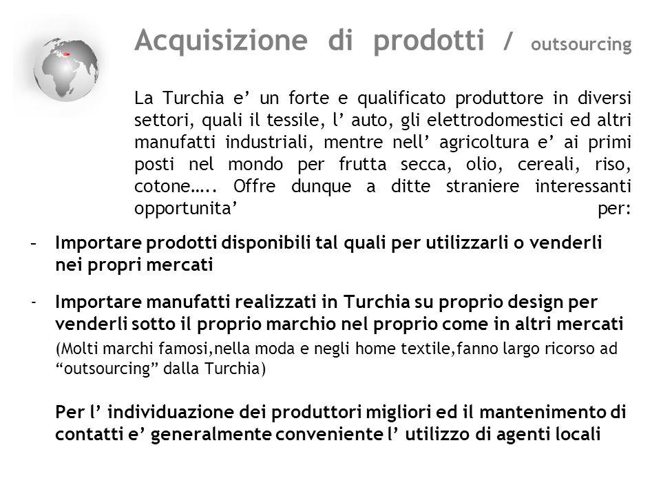 Acquisizione di prodotti / outsourcing La Turchia e un forte e qualificato produttore in diversi settori, quali il tessile, l auto, gli elettrodomesti