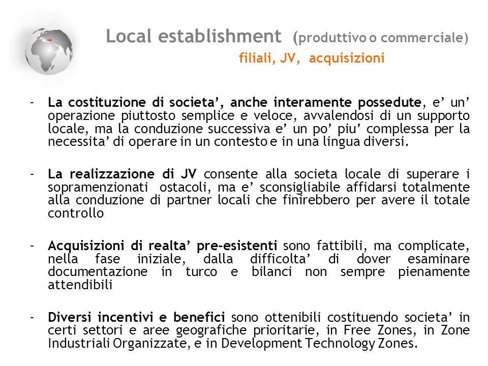 Local establishment ( produttivo o commerciale) filiali, JV, acquisizioni -La costituzione di societa, anche interamente possedute, e un operazione pi