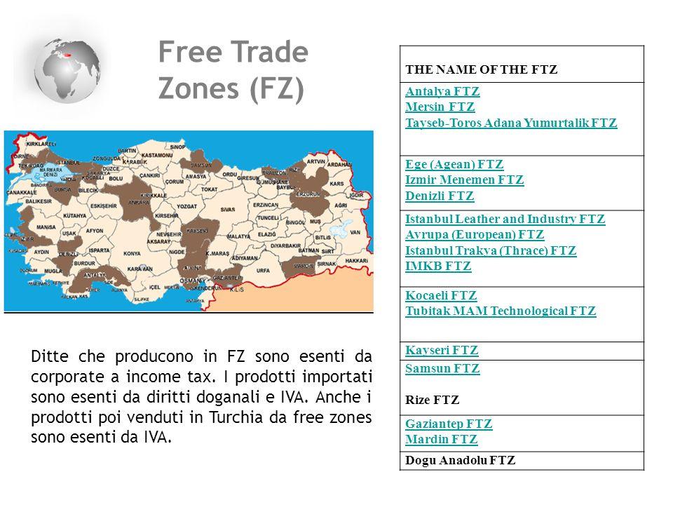 Free Trade Zones (FZ) THE NAME OF THE FTZ Antalya FTZ Mersin FTZ Tayseb-Toros Adana Yumurtalik FTZ Ege (Agean) FTZ Izmir Menemen FTZ Denizli FTZ Istan