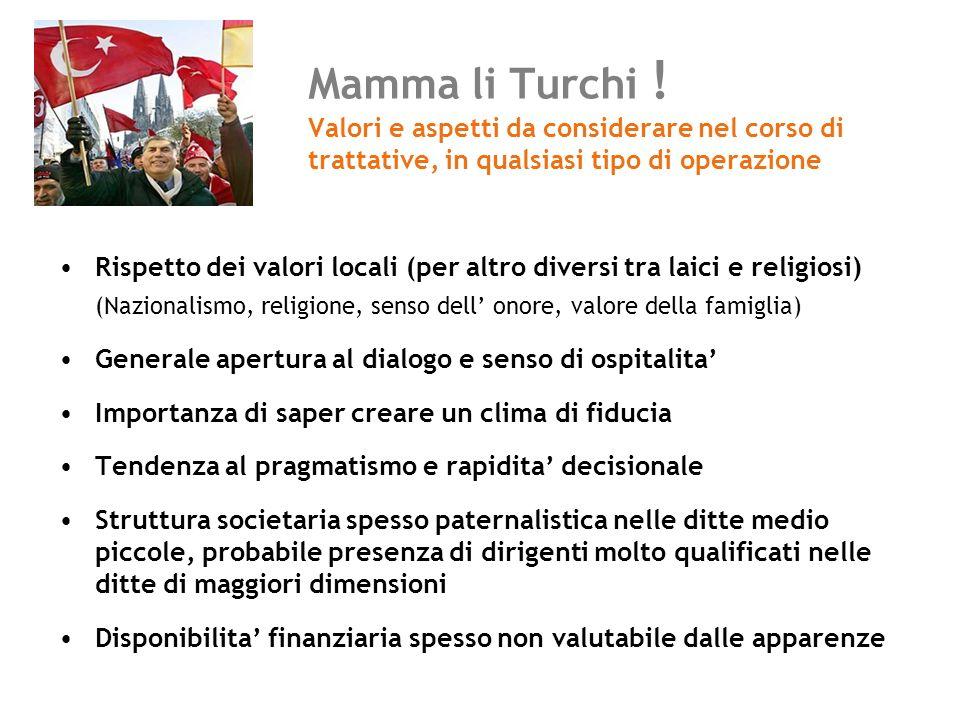 Mamma li Turchi ! Valori e aspetti da considerare nel corso di trattative, in qualsiasi tipo di operazione Rispetto dei valori locali (per altro diver