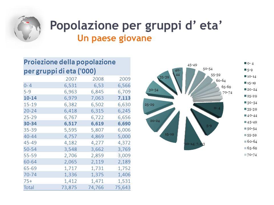 Popolazione per gruppi d eta Un paese giovane Proiezione della popolazione per gruppi di eta ('000) 200720082009 0- 46,5316,536,566 5-96,9636,8456,709