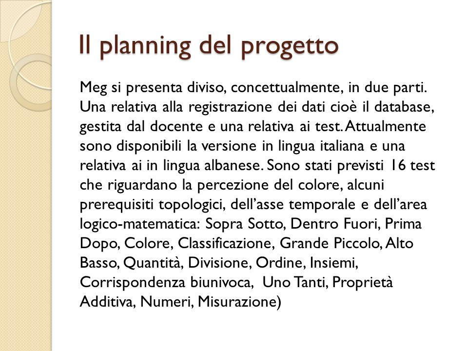 Il planning del progetto Meg si presenta diviso, concettualmente, in due parti. Una relativa alla registrazione dei dati cioè il database, gestita dal