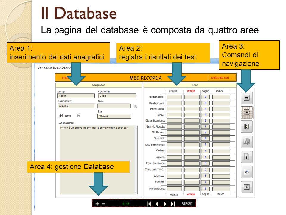 Il Database La pagina del database è composta da quattro aree Area 1: inserimento dei dati anagrafici Area 2: registra i risultati dei test Area 3: Co