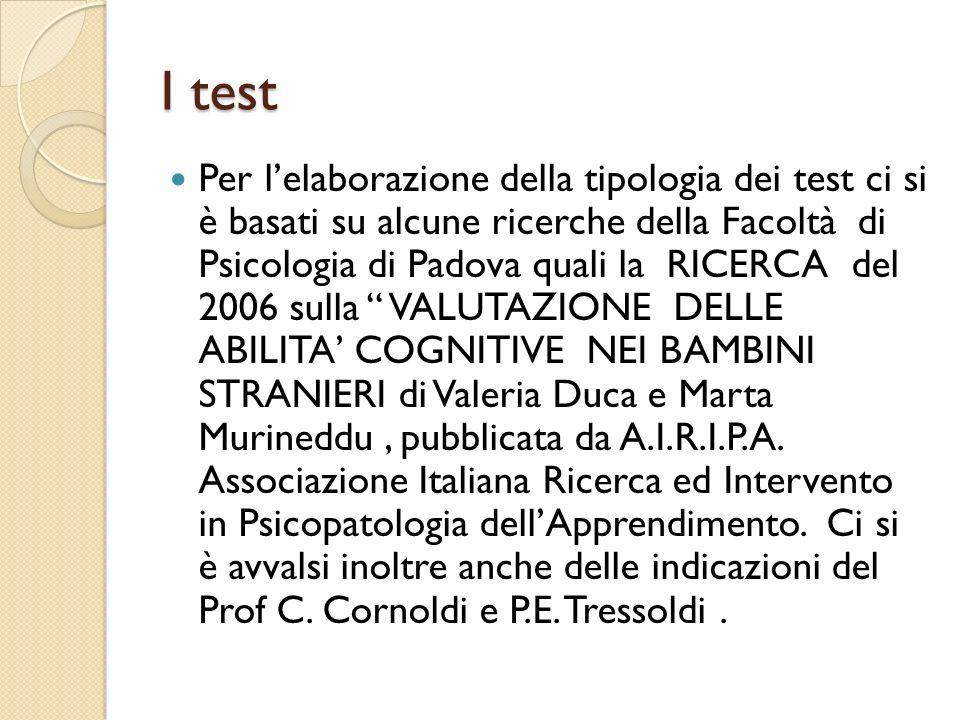 I test Per lelaborazione della tipologia dei test ci si è basati su alcune ricerche della Facoltà di Psicologia di Padova quali la RICERCA del 2006 su