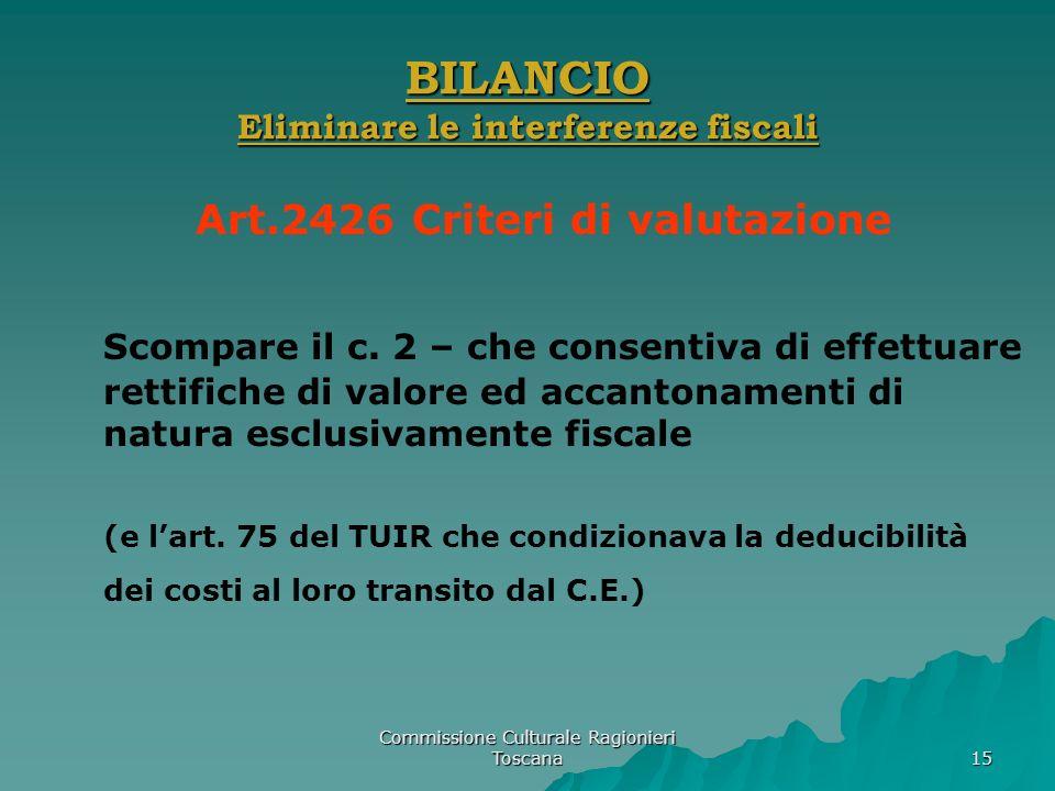 Commissione Culturale Ragionieri Toscana 15 BILANCIO Eliminare le interferenze fiscali Art.2426 Criteri di valutazione Scompare il c. 2 – che consenti