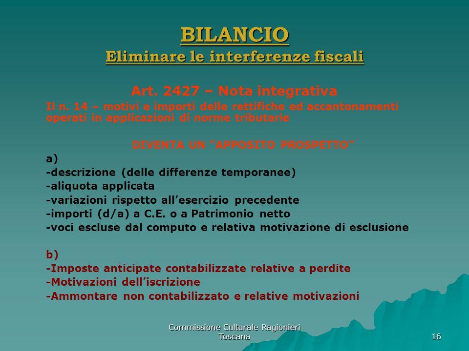 Commissione Culturale Ragionieri Toscana 16 BILANCIO Eliminare le interferenze fiscali Art. 2427 – Nota integrativa Il n. 14 – motivi e importi delle