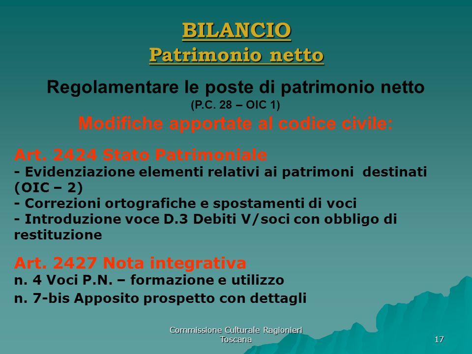 Commissione Culturale Ragionieri Toscana 17 BILANCIO Patrimonio netto Regolamentare le poste di patrimonio netto (P.C. 28 – OIC 1) Modifiche apportate
