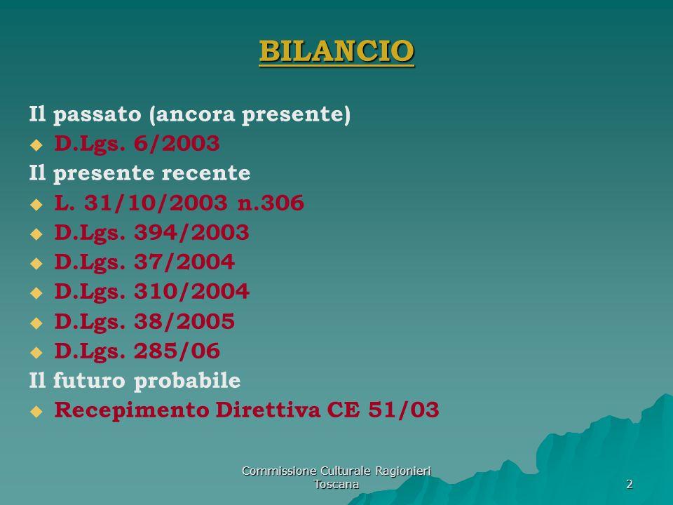 Commissione Culturale Ragionieri Toscana 2 BILANCIO Il passato (ancora presente) D.Lgs. 6/2003 Il presente recente L. 31/10/2003 n.306 D.Lgs. 394/2003