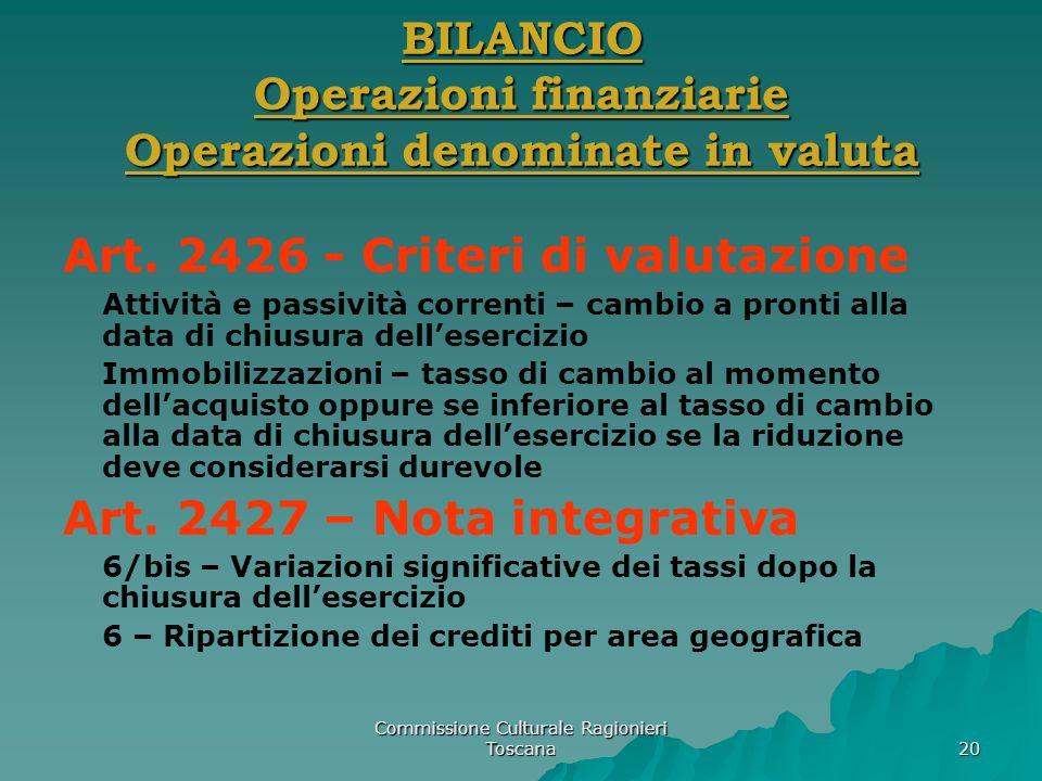 Commissione Culturale Ragionieri Toscana 20 BILANCIO Operazioni finanziarie Operazioni denominate in valuta Art. 2426 - Criteri di valutazione Attivit
