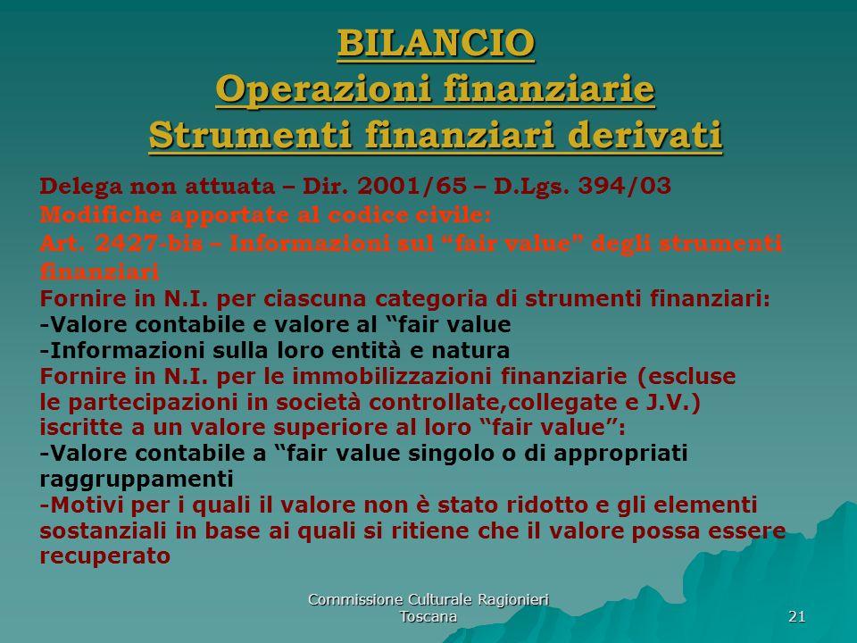 Commissione Culturale Ragionieri Toscana 21 BILANCIO Operazioni finanziarie Strumenti finanziari derivati Delega non attuata – Dir. 2001/65 – D.Lgs. 3