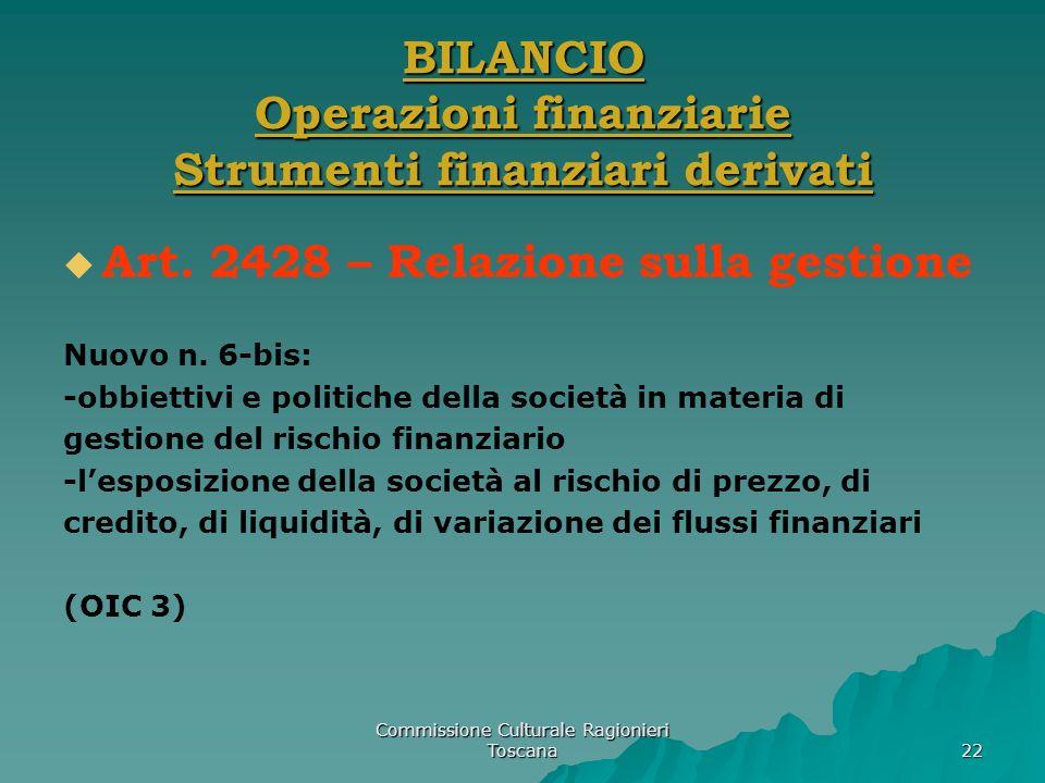Commissione Culturale Ragionieri Toscana 22 BILANCIO Operazioni finanziarie Strumenti finanziari derivati Art. 2428 – Relazione sulla gestione Nuovo n