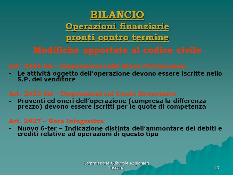 Commissione Culturale Ragionieri Toscana 23 BILANCIO Operazioni finanziarie pronti contro termine Modifiche apportate al codice civile Art. 2424-bis –